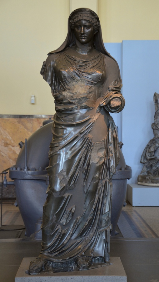 Basanite statue of Agrippina the Younger depicted as a priestess, 54-59 AD.