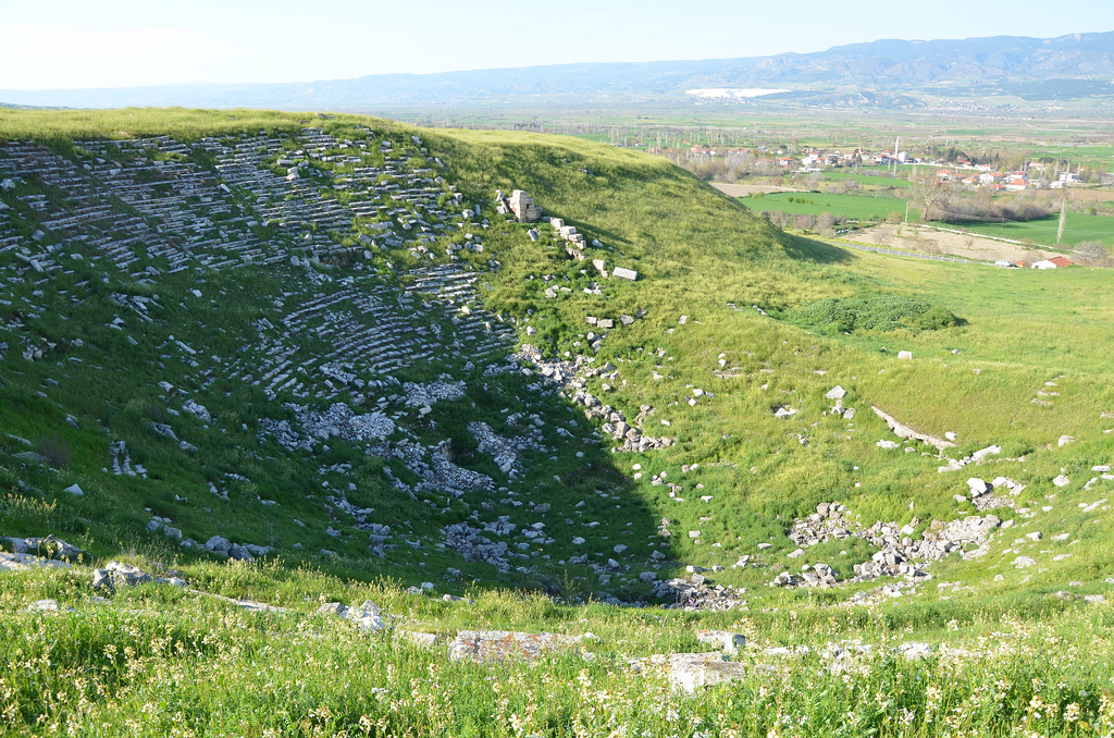 The small theatre dating to the Roman period, it faces North West, only the upper parts of the seating remain, Laodicea on the Lycus, Phrygia, Turkey