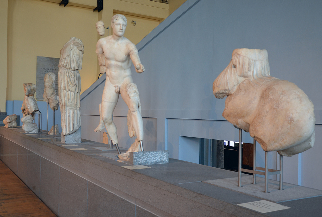 The reconstructed pediment of the Temple of Apollo Sosianus with sculptures narrating the battle between the Greeks and the Amazons.
