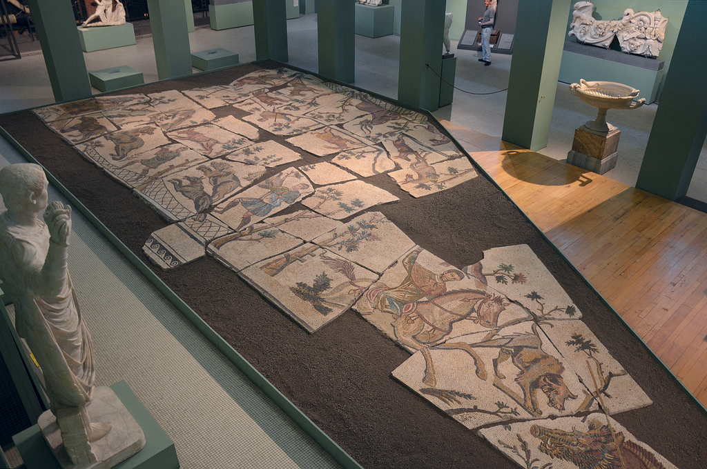 Mosaic with hunting scenes, from the Horti Liciniani, early 4th century AD.