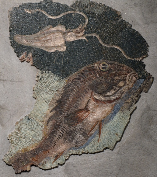 Mosaic with maritime scenes, from the Via Panisperna in Rome, late 2nd - early Ist century BC, it once decorated the pool of a Roman bath.