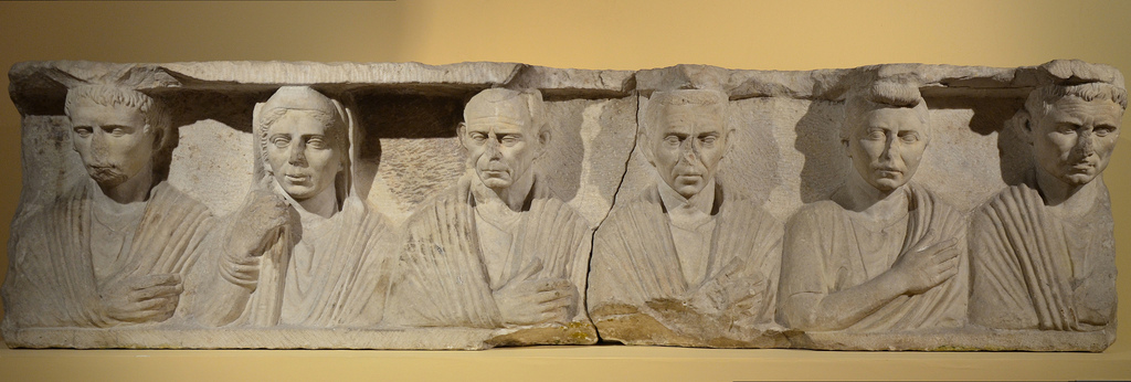 Funerary relief with six figures, from the ramparts of the Porta Flaminia, 1st century BC.