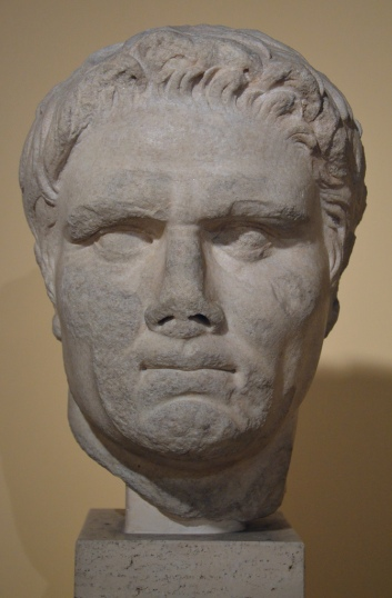 Portrait of a political personality, this portrait can be indenfied as Mark Antony.