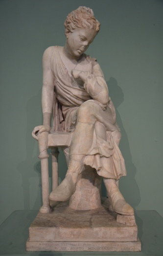 Seated girl, Roman copy of the Hadrianic period after a Greek original of the school of Lysippos or a Roman creation, from the Horti Liciniani.