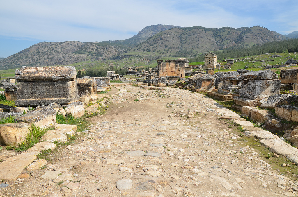 The nothern Necropolis of Hierapolis, one of the best preserved cemeteries of Asia Minor. It was also one of the biggest ones, since more than 1,200 graves have been excavated in an area larger than 2 km.
