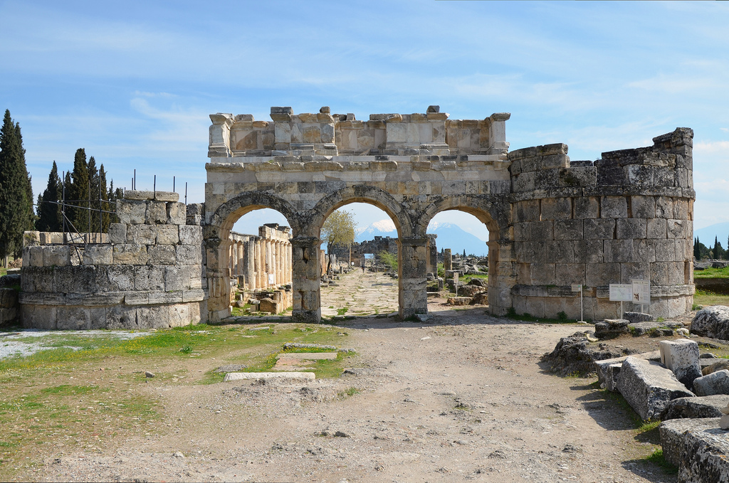 Frontinus Gate, the monumental entrance to the Roman city, dating to 84 or 86 AD on the basis of a dedication to Domitian on the gate's facade.