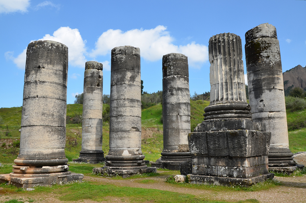 The Temple of Artemis was fronted on each end by eight columns almost 17.8 m high; twenty such columns were on each side. The extant columns are largely Roman replacements.