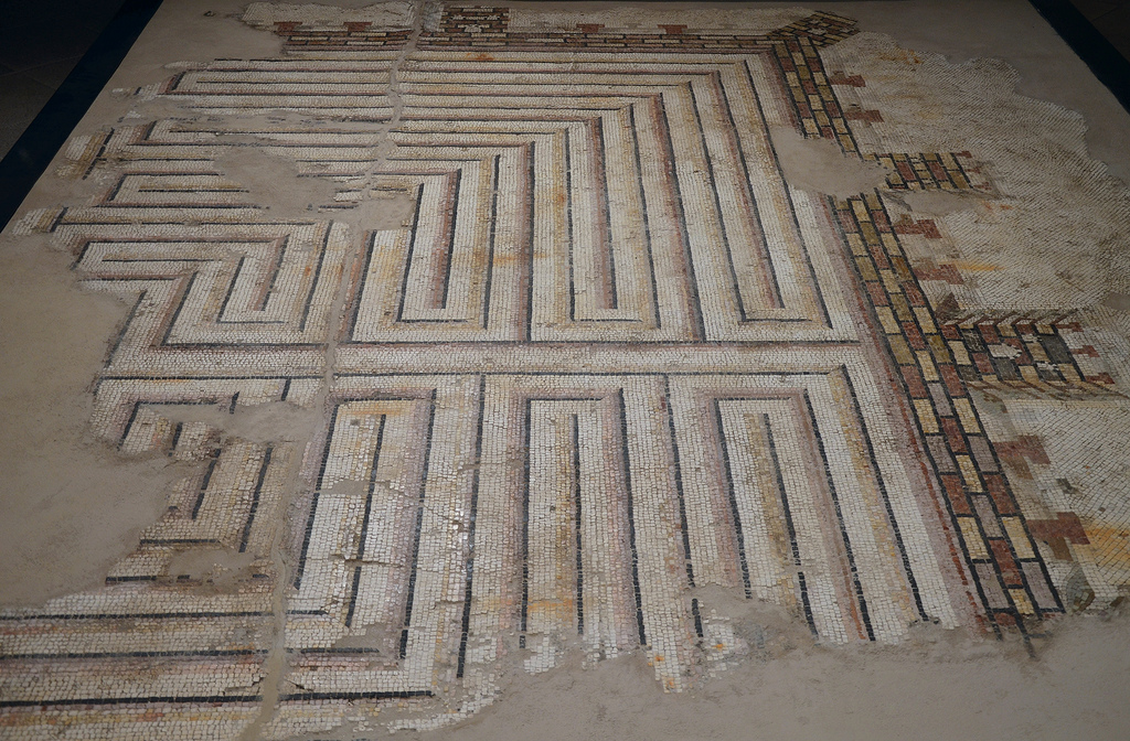 Mosaic depicting a labyrinth surrounded by city walls with towers, 100-80 BC, from Piazza San Giovanni in Laterano, excavation of a Republican Domus.