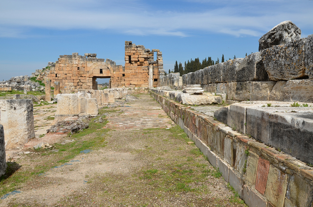 The Nymphaeum of the Tritons included a reservoir 70 m long. xcavations at the monument started in 1993 and brought to light the marble architectural members and the figures of the relief decoration, such as the Tritons, Erotes and dolphins.