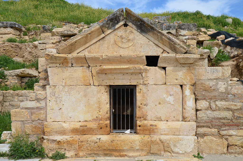 The Tomb of martyred apostle Philip dating to the 1st century AD, it has a facade made of travertine blocks. The remains of the apostle Philip are no longer in the tomb, however.