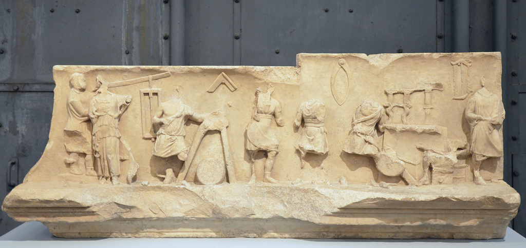 Frieze from the College of the Fabri Tignarii showing a work scene in a carpenter's shop, Flavian Age, from the slopes of the Capitoline Hill.