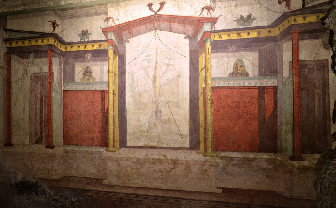 South wall of the Room of the Masks, 2nd Pompeian style.