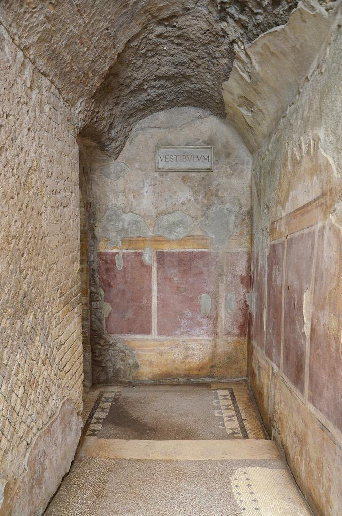 The vestibulum with imitation veneer adorning the walls.