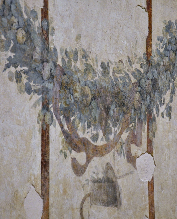 Fresco detail with luxuriant festoons in right-hand room.