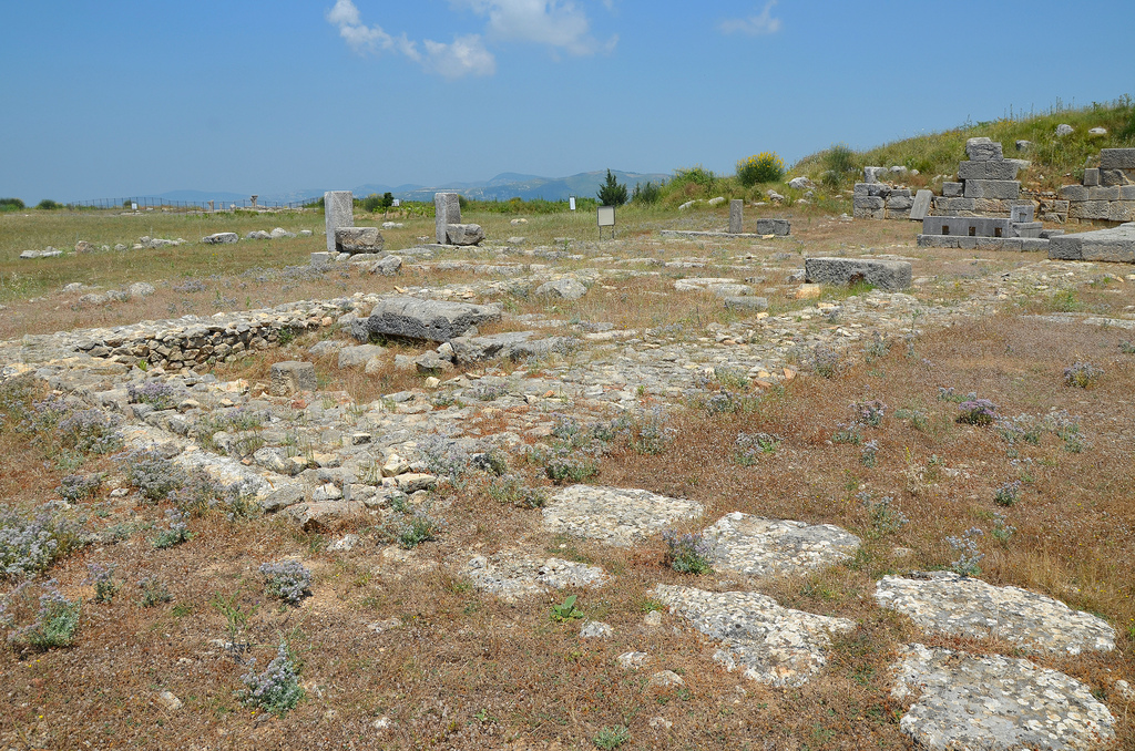 The remains of the stage building of the theatre (scaenae frons) with architectural parts in the Doric order.