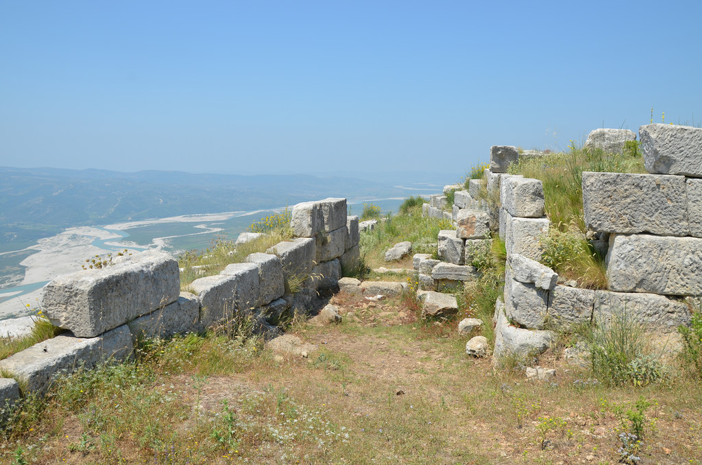 The Gate of the Agora looking towards the Vjosa valley, 1st half of the 4th century BC, reconstructed by the Roman colonists, Byllis, Albania