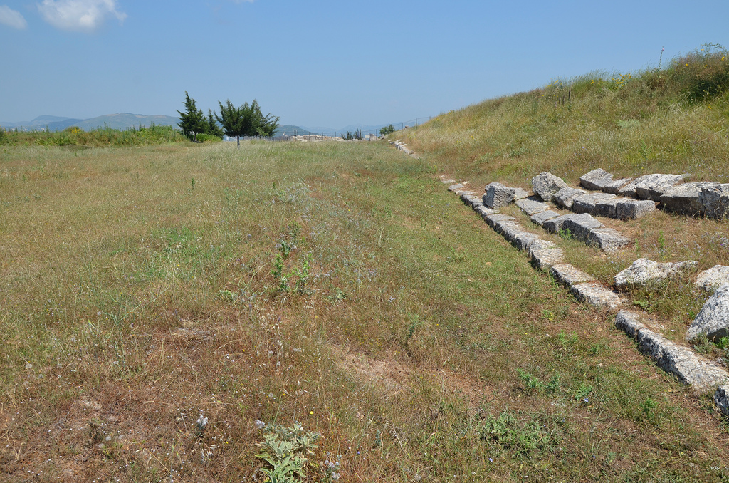 The 190m long Stadium with only one ring of nineteen steps, built in the 3rd century BC.