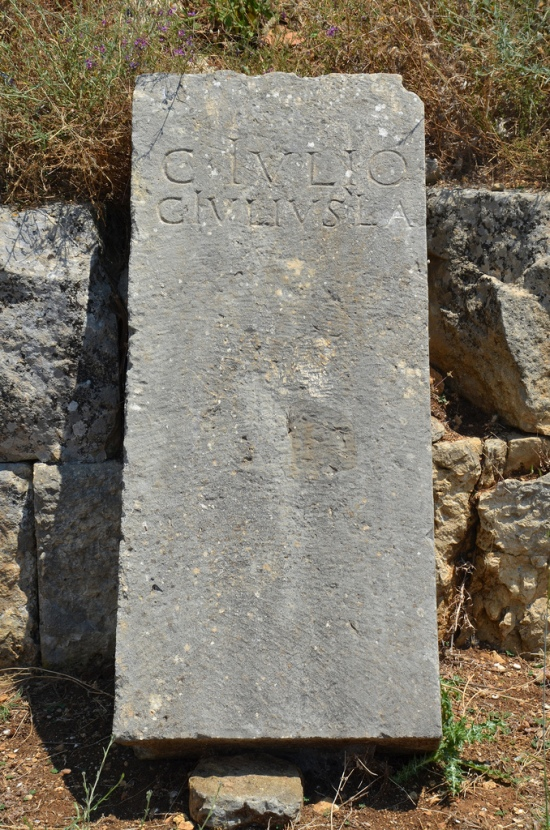 Latin inscription dedicated to Caius Julius, a liberated slave of Augustus, about 30 BC.