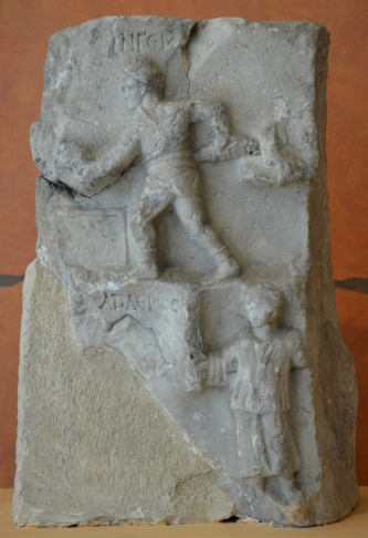Funerary stele of a gladiaror, Hellenistic period.